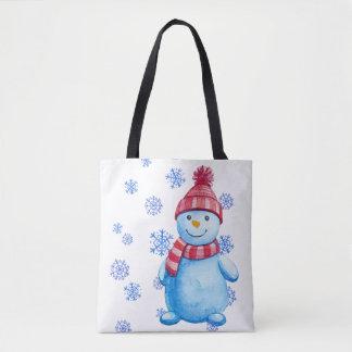 Schneemann mit Schneeflocken Tasche