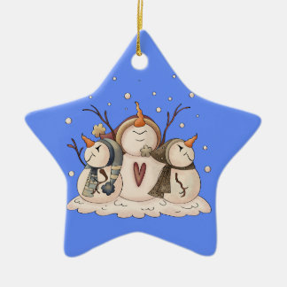 Schneemann-Schneeflocke-Winter-Land-Primitives Keramik Ornament