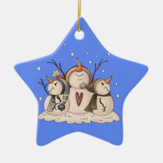 Schneemann-Schneeflocke-Winter-Land-Primitives Keramik Stern-Ornament
