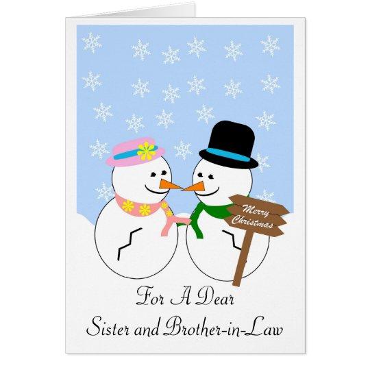 Schneemann-Schwester-und Schwager-Weihnachtskarte Karte