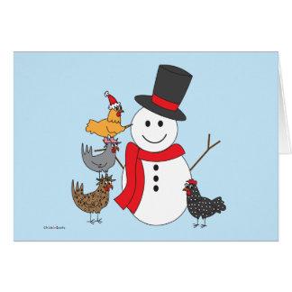 Schneemann und Hühner Karte