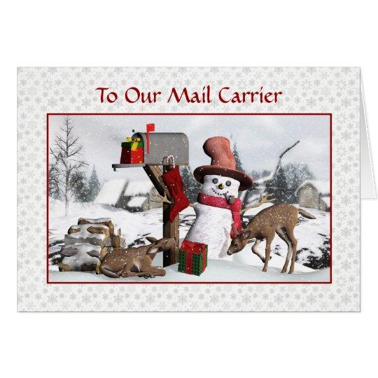 Schneemann und Rotwild frohe Feiertage zum Grußkarte