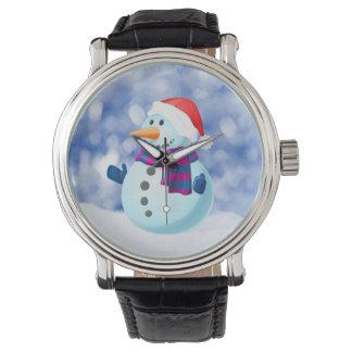 Schneemann-Winter-frohe Weihnacht-Schnee Armbanduhr