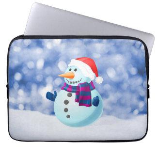 Schneemann-Winter-frohe Weihnacht-Schnee Laptopschutzhülle