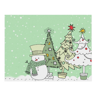 Schneemann wünscht frohe Feiertage Postkarte