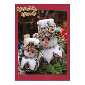 Schneemänner, die Pinecone Hut tragen Magnetische Karte