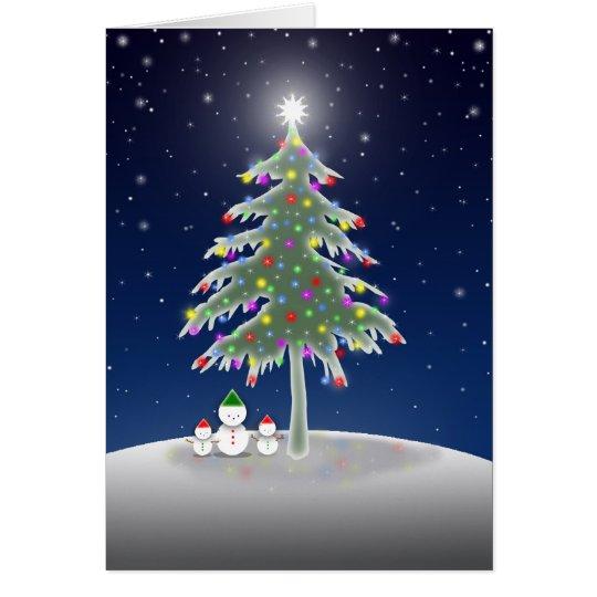 Schneemänner und Weihnachtsbaum-Karte Karte