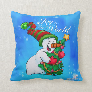 Schneemannkissen, das einen Weihnachtsbaum umarmt Kissen