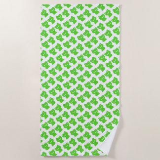 Schneiden Sie grünes und weißes Frosch-Muster Strandtuch