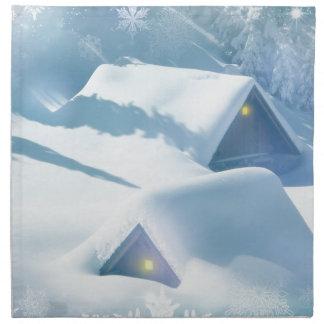 schneiende Häuser der Weihnachtsbevorzugung Stoffserviette
