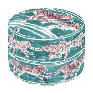 SCHNELLES GEPARDE Safari Boho Chic-Aquarell Hocker
