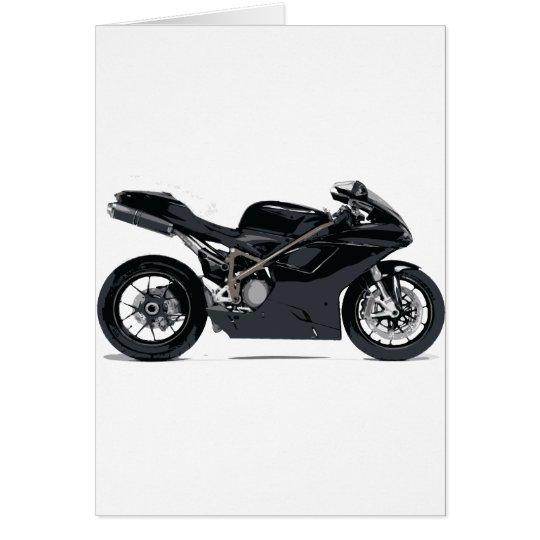 Schnelles schwarzes Motorrad Grußkarte
