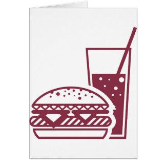 Schnellimbiss-Cheeseburger und Getränk Karte