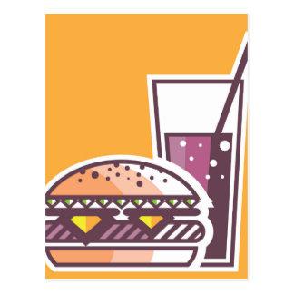 Schnellimbiss-Cheeseburger und Getränk Postkarte