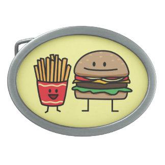 Schnellimbißbrötchenkram des Hamburgers und der Ovale Gürtelschnallen