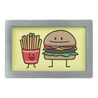Schnellimbißbrötchenkram des Hamburgers und der Rechteckige Gürtelschnallen
