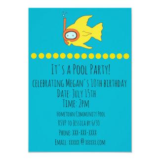 Schnorchelndes Fisch-Kindergeburtstag-Pool-Party Karte