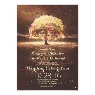 Schnur beleuchtet Baum-elegante Vintage Hochzeit 12,7 X 17,8 Cm Einladungskarte