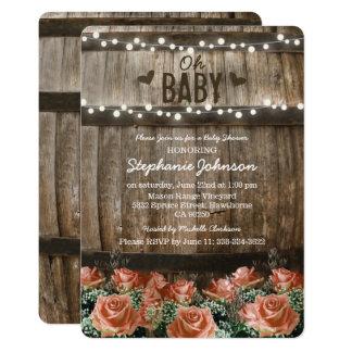 Schnur beleuchtet | rustikale Land-Fass-Babyparty 12,7 X 17,8 Cm Einladungskarte