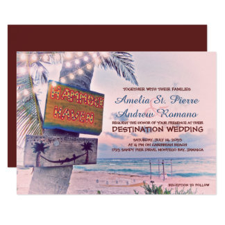 Schnur beleuchtet Strand-Hochzeit in 12,7 X 17,8 Cm Einladungskarte