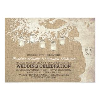 Schnur des Weckglases beleuchtet rustikale 12,7 X 17,8 Cm Einladungskarte