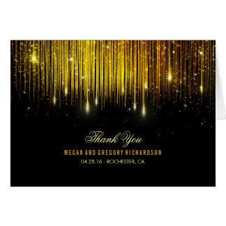Schnur-Licht-Gold und schwarze Hochzeit danken Karte