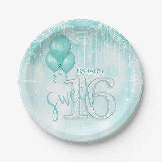 Schnur-Licht-u. Ballon-Bonbon 16 aquamarines ID473 Pappteller