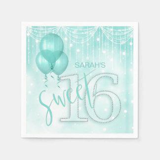 Schnur-Licht-u. Ballon-Bonbon 16 aquamarines ID473 Servietten