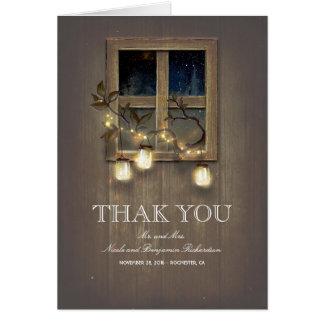 Schnur-Licht-und Weckglas-rustikale Scheune danken Karte