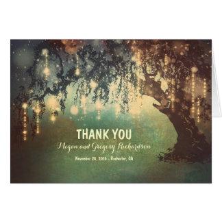 Schnur-Licht-Weide-Baum-Hochzeit danken Ihnen Karte
