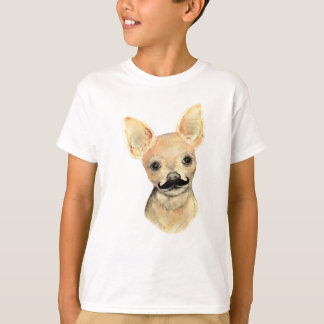 Schnurrbart auf einem niedlichen Hunde Humor T-Shirt