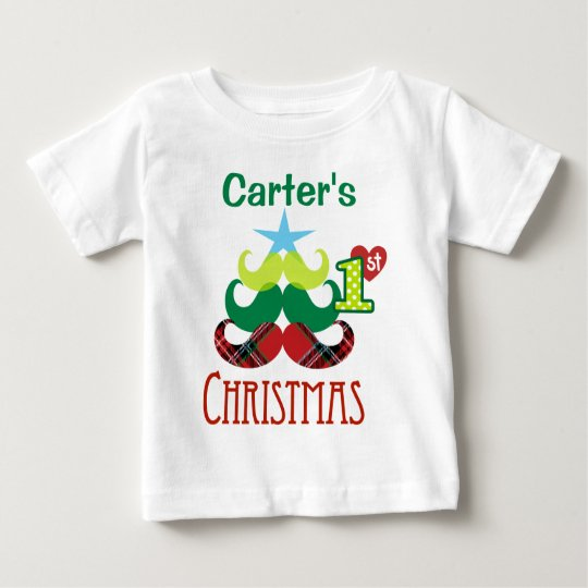 Schnurrbart-Baum-T-Shirt des Babys 1. Weihnachts Baby T-shirt