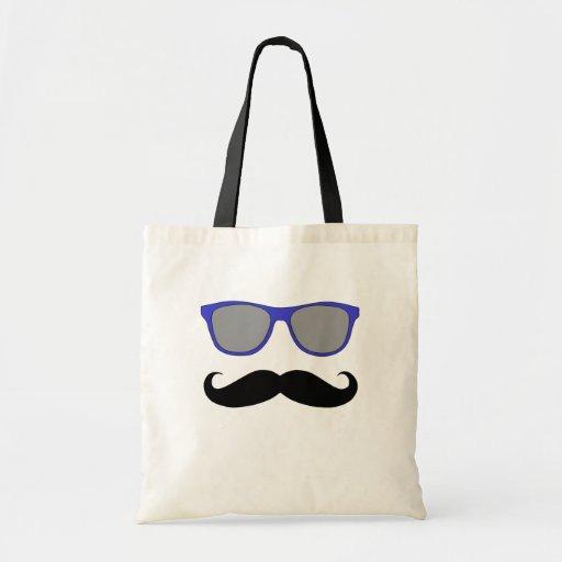 Schnurrbart und blauer Sonnenbrille-Humor Leinentaschen