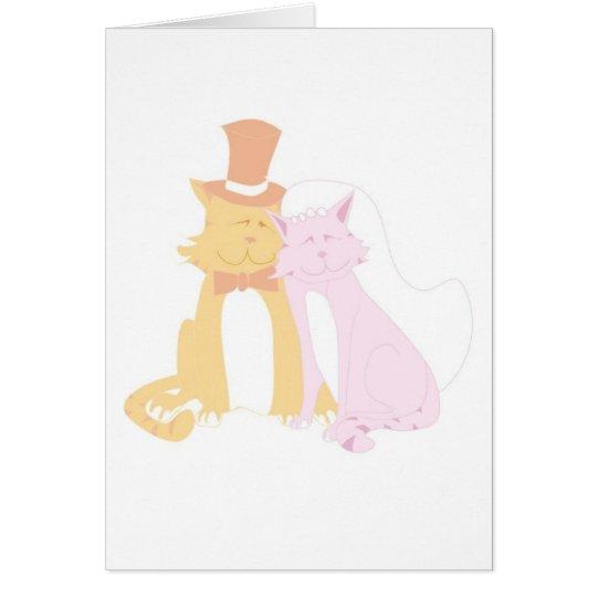 Schnurrende Hochzeits-Katzen Grußkarte