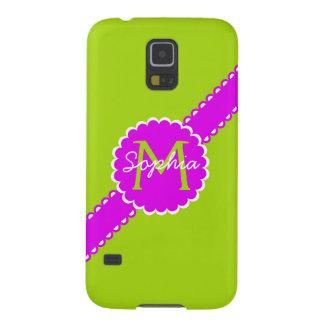 Schockierendes Rosa und Limones grünes Monogramm Samsung S5 Hülle