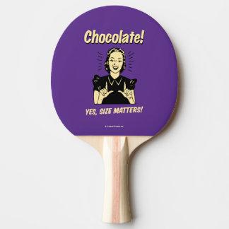 Schokolade: Größen-Angelegenheiten Tischtennis Schläger
