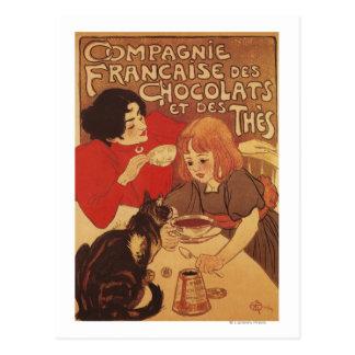 Schokolade und Mutter und Tochter des Tee-Co Postkarte