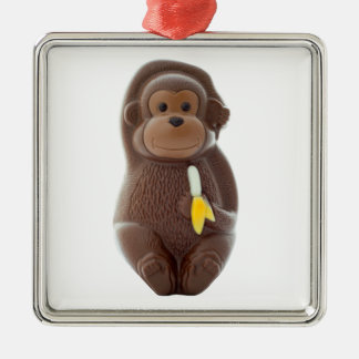 Schokoladen-Affe-Metallverzierung Silbernes Ornament