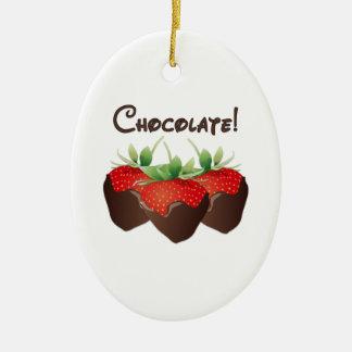 Schokoladen-Erdbeere Keramik Ornament