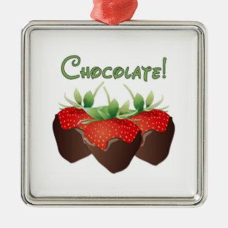 Schokoladen-Erdbeere Silbernes Ornament