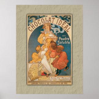 Schokoladen-ideales Vintages französisches Getränk Poster