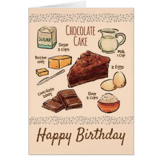 Schokoladen-Kuchen-Rezept-Geburtstag Karte
