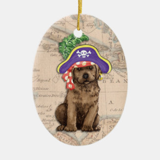 Schokoladen-Labrador-Pirat Keramik Ornament