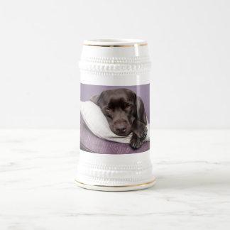 Schokoladen-labrador retriever-Hund schläfrig auf Bierglas