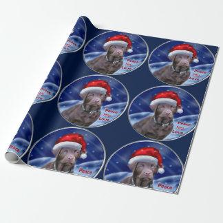 Schokoladen-Labrador retriever-Weihnachten Geschenkpapier
