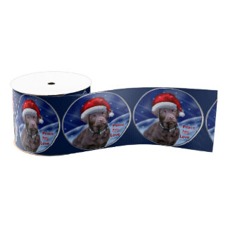 Schokoladen-Labrador retriever-Weihnachten Ripsband