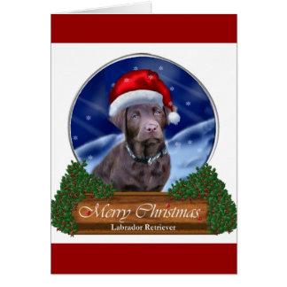 Schokoladen-Labrador retriever-Weihnachtsgeschenke Karte