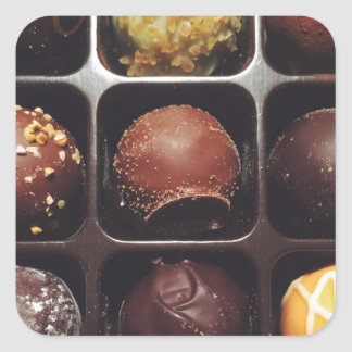 Schokoladen-Trüffel-Foto Quadrat-Aufkleber
