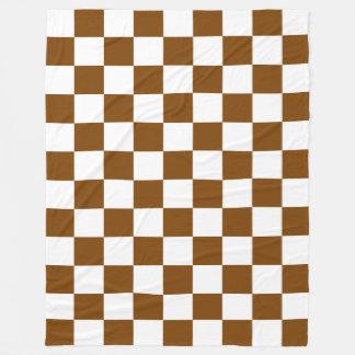 Schokoladenbraune und weiße Schachbrett-Quadrate Fleecedecke