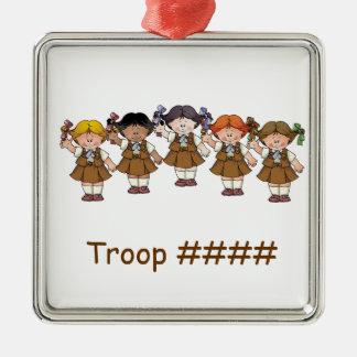Schokoladenkuchen-Gruppe Quadratisches Silberfarbenes Ornament